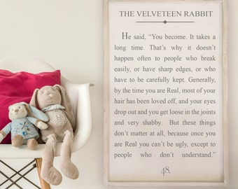 The Velveteen Rabbit - Wood Signs - Wooden Signs - Book Series