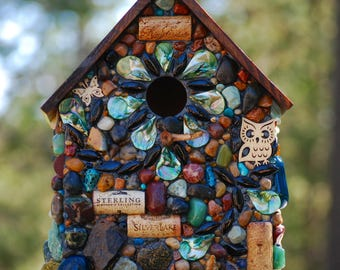 Large Outdoor Birdhouse Blues, Greens, Owles and Mosaic Stones for Wine Lovers wine corks Rustic birdhouse Made in Oregon Winter Birds Wrens