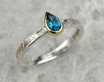 Blue Topaz Ring; December Birthstone Ring; Unusual Ring; Solid Gold And Sterling Silver Ring; Pear Shaped Ring; Textured Ring; Blue Stone