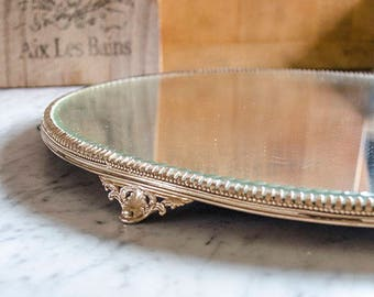 Lg Vintage Plateau Mirror, Beveled Pie Crust Mirror , Vanity, Display, Silver Plate