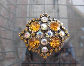 Vintage Rivoli Glass Brooch,  Amber Rhinestone Pin, 1960s Vintage Jewelry