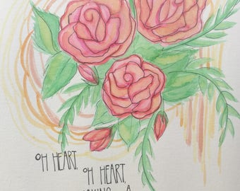 Roses Heart Watercolor Sketch