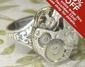 Women's Steampunk Ring - Vintage SILVER CARAVELLE Textured Surface Watch Movement - Torch SOLDERED - Birthday Anniversary Gift - Super Clean