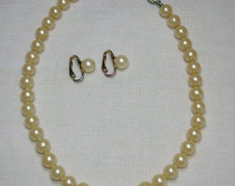 Glass Pearl Necklace, Mid Century. With Earrings. Demi Parure, Adjustable Length