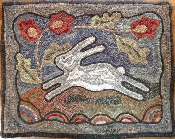 "Rug Hooking KIT, Spring Delight, 18"" x 24"", J818,  DIY Rug Hooking Kit, Pattern and Wool, Folk Art Bunny, Rabbit Rug"