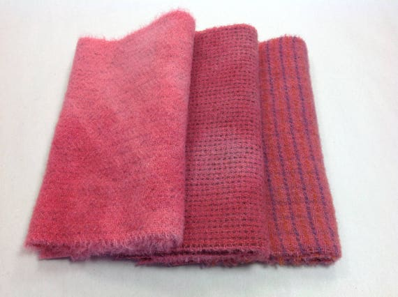 Coral Rose, 3) Fat 1/16ths, Hand dyed wool fabric for Rug Hooking and Applique, W325, Rose Pinks, Coral Pinks