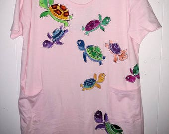 Turtle Power Hand painted on Pink Cover-Up or Sleepshirt