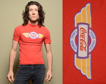 vintage 80s Coca-Cola t-shirt Your Thirst Takes Wings tee shirt 1980 Coke red t-shirt XS/S slim slimfit tight fitted tee