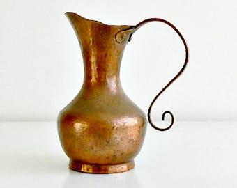 Vintage Hammered Copper Pitcher, Solid Copper, Hand Wrought Copper Pitcher, Copper Vase.