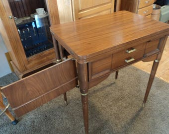 REDUCeD  MID-Century Sewing Machine Cabinet w/ Side Door Storage, Knee Pedal--SO COOL!