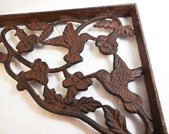 Hummingbird Design, Cast Iron, Corner, Shelf, Bracket, Rustic Wrought Iron, Mailbox Ornament, Garden Accent