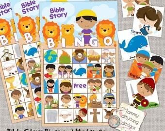 Digital Bible Bingo, Printable Sunday School Bingo Game, Jesus Bingo for Kids, Christian party game, Bible Story activity, religious game