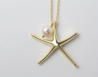 Gold Starfish Necklace, Bridesmaid Necklace, 14k Gold Filled Starfish Necklace, Beach wedding jewelry, Nautical wedding, Starfish Jewelry