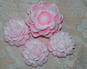Pink Flower Soap Set ~  Pink Carnations and Magnolia Soaps ~ Carnation Soap ~Magnolia Soap ~ Floral Soap Gift Set