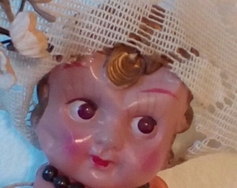 Vintage Celluloid Cupie Doll Made in Japan.  Diamond Mark on Back.   Y-172