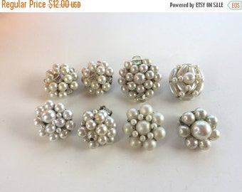 MOVING SALE Half Off Destash Craft Lot of Vintage and Salvaged Pearl Beaded Cluster Bob Earrings
