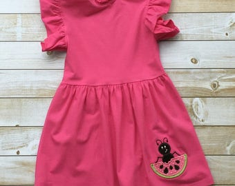 Ruffled Dress Hot Pink with Watermelon and Ant Applique 3T