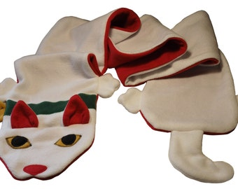 White Maneki Neko Kawaii Cat Fleece Scarf