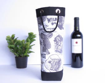Bottle Gift Tote - Western / Black Canvas - Wine, Whiskey, Craft Beer, 750ml Bottle Bag