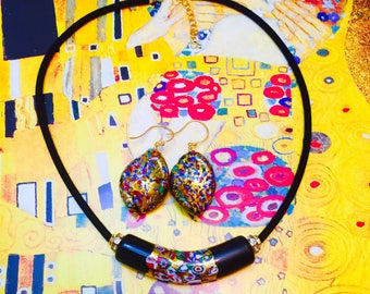 Multicoloured Klimt Inspired Venetian Murano Glass Vermeil GP Sterling Silver on Black Velvet Necklace