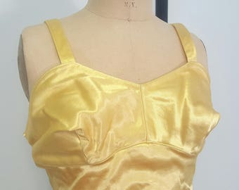 Vintage 1940s Swimsuit. Yellow Satin. Nanina Label. Unworn. Pinup Maillot 40s Swim Beach. Small