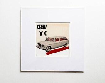 Original paper collage, vintage car collage, vintage paper collage