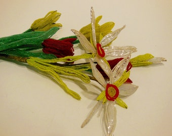French beaded flowers, wired flowers, glass bead flowers, beaded bouquet, tulips, lilies, red white yellow