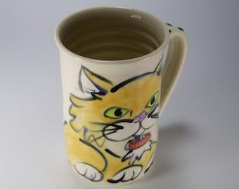 Yellow cat cup yellow kitty mug cat lovers mug white mug with kitty