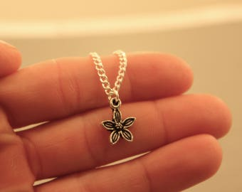 Flower Necklace: Mini Flower Charm Necklace, Flower Power, Nature, Hippie, Friendship Necklace, Friendship Jewelry, Best Friend,