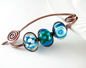 Shawl Pin Scarf Pin Sweater Pin Fibula Wire Wrapped Jewelry Copper Brooch Wire Shawl Pin  Copper Wire Wrap Turquoise Brooch