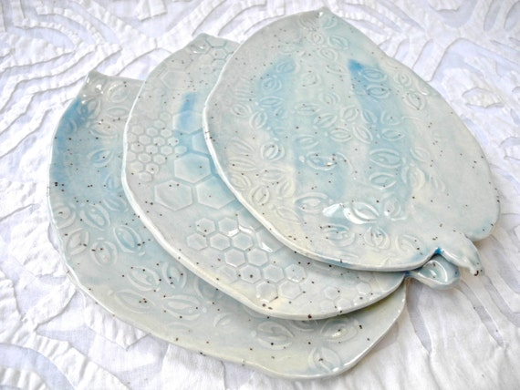 Tapas Plates, Pale Blue, Leaf Plates, Small Plates, Appetizer Plate, Speckled Stoneware, Watercolor ceramics, ceramic plates, Pottery Plates