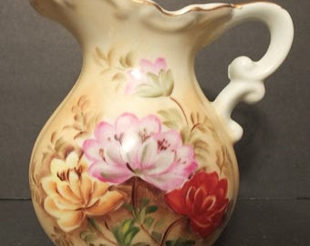 Lefton Brown Heritage Floral Pitcher Lefton China SL1286