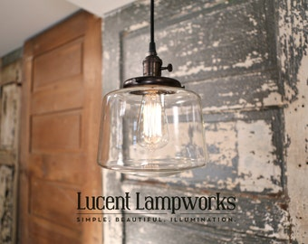Pendant Fixture with Clear Glass Taper Drum - 8 Inch