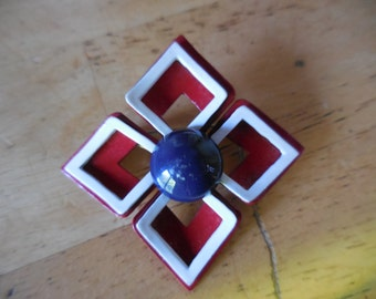 Vintage Enamel Red/White/Blue Metal Square Brooch/Pin 1960s to 1970s Retro Americana