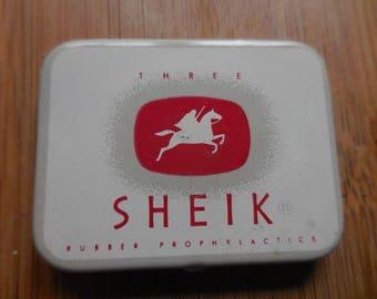 Vintage 1940s to 1950s SHEIK Prophylactics Tin Tiny White Red Graphics Bathroom Decor Humor Birth Control Pocket Size Metal