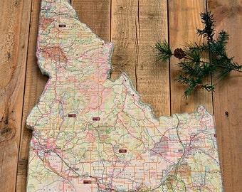 IDAHO State Vintage Map Wall Art (Medium size)