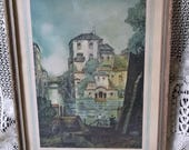 Antique lithograph Riviera, Claude Dorval, rustic chic, Italy inspired, tattered picture