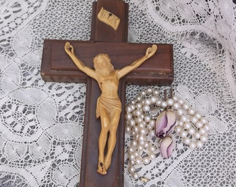 Vintage Wood Crucifix, rustic chic, dark wood, time worn patina, wall crucifix