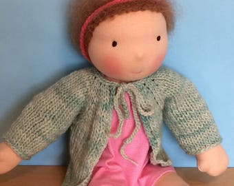 Waldorf Doll Knit Sweater for 15/16 Inch Waldorf Doll  **Water Green**