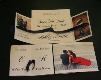 Tying The Knot, Save The Date, A2 Size, Wedding Announcement, Christian, Tri-Fold, Photos, French, Vintage, Shabby Chic, Unique, Romantic
