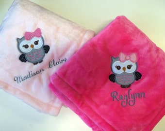 Personalized 30x40 Micro Fleece Baby Blanket Girl Owl Bow