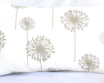 Gray Dandelion Throw Pillow COVER Decorative Lumbar Accent Pillow ALL SIZES Nursery Pillow Childrens Pillow Cover Bed Sofa Pillow for Couch
