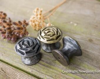 rose iron drawer knobs rustic cabinet hardware cabinet hardware metal - Rustic Cabinet Hardware