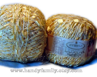 Luxurious yarn Luxor. Ribbon ladder trim yarn. Viscose and lurex Summer yarn Gold color (10) Metalic thread sparkle Trellis yarn Eq
