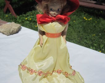 Vintage Storybook Doll Pull Toy