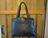 Vintage FOSSIL Black Leather Tote Bag - Fossil Large Tote Bag