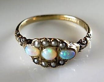 Victorian 10K Gold Opal Pearl Ring Sz 8 Marked Hallmarked