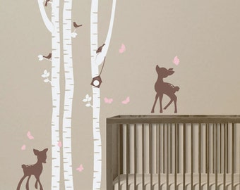 Birch trees and fawns Wall Decal