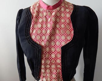 Edwardian Victorian Boned Bodice Jacket Wool, Silk ,Velvet, Sz S