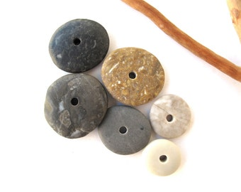 River Stone Cairn Mediterranean Beach Stone Stacks Pebble Rock Donut Beads Beach Stone Spacers MIX WHEELS 14-23 mm